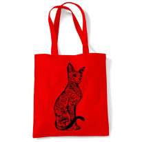 Cat With Tattoos Hipster Large Print Tote Shoulder Shopping Bag