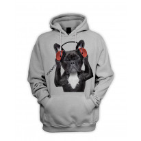 French Bulldog DJ Style Men's Pouch Pocket Hoodie Hooded Sweatshirt
