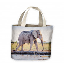 Elephant at Watering Hole Tote Shopping Bag For Life