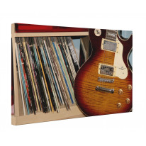 Vinyl Records and Guitar Box Canvas Print Wall Art - Choice of Sizes