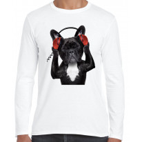 French Bulldog DJ Funny Men's Long Sleeve T-Shirt