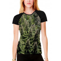 Cannabis Buds Women's All Over Print Graphic Contrast Baseball T Shirt