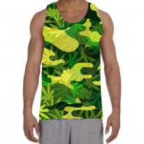 Camouflage Cannabis Leaves Men's All Over Graphic Vest Tank Top