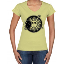 Sun and Moon Eclipse Hipster Tattoo Large Print V Neck Women's T-Shirt