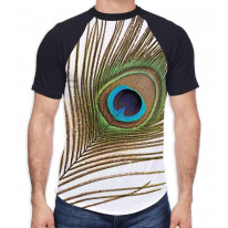 Single Peacock Feather Men's All Over Graphic Contrast Baseball T Shirt