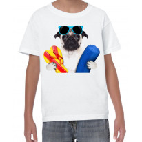 Pug Dog On Holiday Funny Children's T-Shirt
