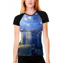 Van Gogh Starry Night Over the River Rhone Women's All Over Graphic Contrast Baseball T Shirt