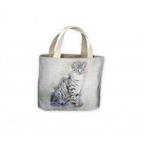 Grey Cat Drawing Tote Shopping Bag For Life