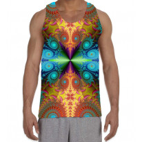 Psychedelic Fractal Colours Pattern Men's All Over Graphic Vest Tank Top