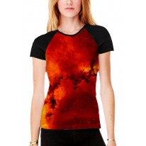 Star Clusters Women's All Over Graphic Contrast Baseball T Shirt