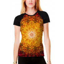 Flower of Life Red Pattern Women's All Over Graphic Contrast Baseball T Shirt