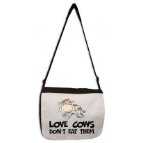 Love Cows Don't Eat Them Vegetarian Laptop Messenger Bag