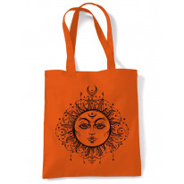 Boho Sun Hipster Tattoo Large Print Tote Shoulder Shopping Bag