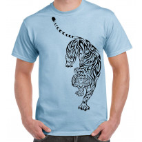 Tribal Tiger Tattoo Large Print Men's T-Shirt