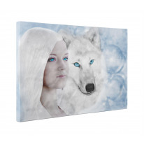 White Wolf and Woman Fantasy Art Box Canvas Print Wall Art - Choice of Sizes