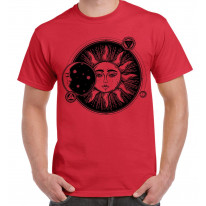 Sun and Moon Eclipse Hipster Tattoo Large Print Men's T-Shirt