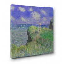 Claude Monet Cliff Walk at Pourville Box Canvas Print Wall Art - Choice of Sizes