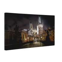 Prague City Centre at Night From Charles Bridge Canvas Print Wall Art - Choice Of Sizes