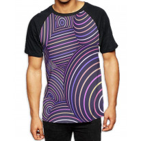 Abstract Spheres Men's All Over Print Graphic Contrast Baseball T Shirt