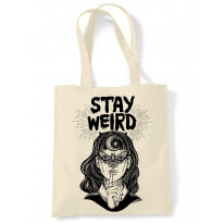Stay Wierd Witch Girl Hipster Large Print Tote Shoulder Shopping Bag
