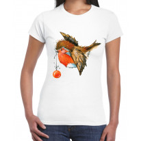 Christmas Robin With Bauble Cute Women's T-Shirt