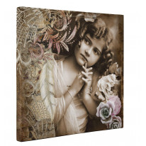 Vintage Girl with Roses Box Canvas Print Wall Art - Choice of Sizes