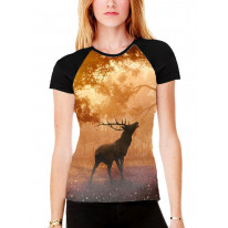 Stag in Forest Women's All Over Graphic Contrast Baseball T Shirt