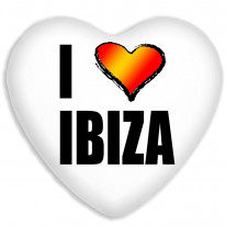 I Love Ibiza Rave Clubbing Holiday Faux Silk Heart Shaped Sofa Cushion