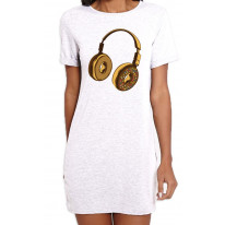 Headphone Donut DJ Women's Short Sleeve T-Shirt Dress