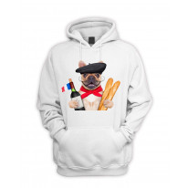 French Bulldog With Wine and Baguette Pouch Pocket Hoodie