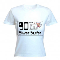 90 Year Old Silver Surfer 90th Birthday Women's T-Shirt