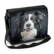 Border Collie Portrait Laptop Messenger Bag
