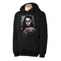 Day Of The Dead Girl With Fan Hoodie