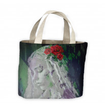 Girl with Red Roses in Hair Tote Shopping Bag For Life