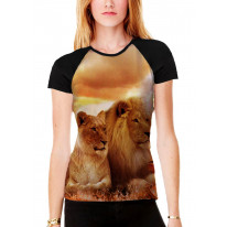 Lions Lying Down in Sunset Women's All Over Graphic Contrast Baseball T Shirt