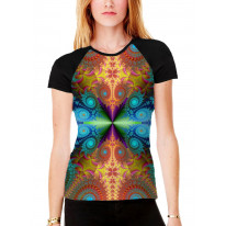 Psychedelic Fractal Colours Pattern Women's All Over Graphic Contrast Baseball T Shirt