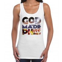 God Made Me Phunky Disco Large Print Women's Vest Tank Top