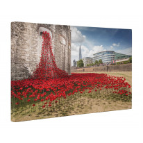 Tower of London Poppies Window View Box Canvas Print Wall Art - Choice of Sizes