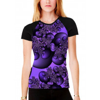 Fractal Circles Purple Women's All Over Graphic Contrast Baseball T Shirt
