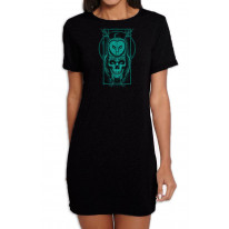 Skull Owl Hipster Women's Short Sleeve T-Shirt Dress