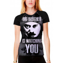 Big Brother is Watching You Women's All Over Print Graphic Contrast Baseball T Shirt