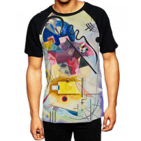 Wassily Kandinksy Red Yellow Blue Composition Men's All Over Graphic Contrast Baseball T Shirt