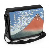 Hokusai Mount Fuji in Clear Weather Red Laptop Messenger Bag