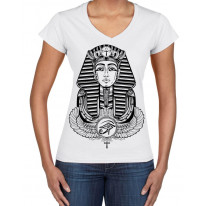 Egyptian Pharoah With Winged Ankh Symbol Large Print V Neck Women's T-Shirt