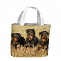 Three Rottweiler Dogs In A Field Tote Shopping Bag For Life