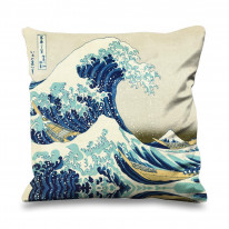 Hokusai The Great Wave off Kanagawa Faux Silk 45cm x 45cm Sofa Cushion