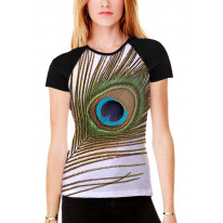 Single Peacock Feather Women's All Over Graphic Contrast Baseball T Shirt
