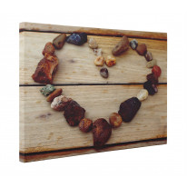 Love Heart Stones on Wood Box Canvas Print Wall Art - Choice of Sizes