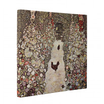 Gustav Klimt Garden with Chicken and Rooster Box Canvas Print Wall Art - Choice of Sizes