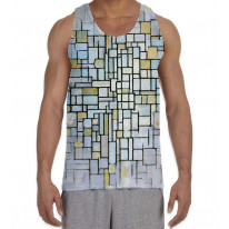 Piet Mondrian Composition in Blue and Grey Men's All Over Graphic Vest Tank Top